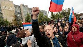 Demonstrace podporovatelů ruského opozičníka Navalného (7. 10. 2017)