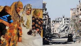 První svatba v troskách bašty ISIS. Do Rakky se vrací radost, barvy a tanec