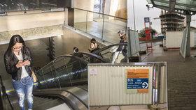 Omezení v metru na Veleslavíně: Dopravní podnik začal stavět nové eskalátory
