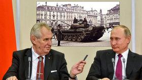 """Česko má být za okupaci vděčné, píší v Rusku. """"Šílenec s vylízaným mozkem,"""" běsní Zeman"""