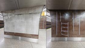 Opadávající obklady v metru v Jinonicích. Dopravní podnik si stěžoval, firma to řešila »lepenkou«
