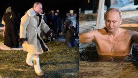 Putin odhodil kožich a skočil do díry v ledu. Venku bylo sedm stupňů pod nulou