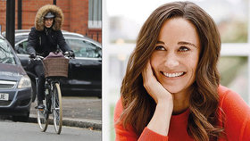 Sestra vévodkyně Kate Pippa drahá auta nepotřebuje: Na kole i ve větru a dešti!