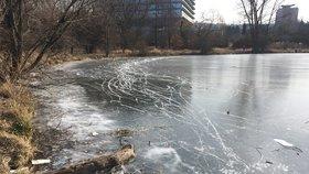 S mužem se propadl led v Praze 6: Z mrazivě studené vody ho vytáhli hasiči, je při vědomí