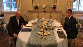Babiš po večeři se Zemanem: Prezident mi do sestavování vlády mluvit nebude