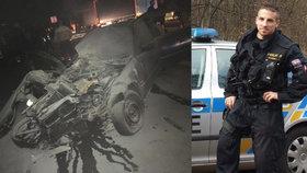Policista mimo službu zachránil život ženě: Vytáhl ji z hořícího auta