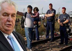 Podle prezidenta Zemana by na české hranice kvůli uprchlické krizi měla vyrazit armáda.