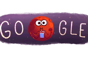 Google přichystal vtipný Doodle k objevu tekuté vody na Marsu.