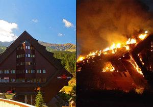 Slovenský hotel Junior lehl popelem. Jeden člověk zemřel.
