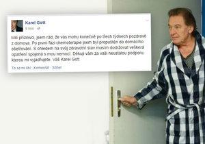 Konečně doma! Karel Gott zdravil fanoušky po první fázi chemoterapie.