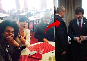 Střípky z Topky: Feriho selfie, sklenička s diplomaty i zdravice od Merkel