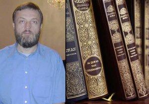 Bývalý předseda pražské muslimské obce Vladimír Sáňka. Za překlad, vydání a distribuci kontroverzní knihy mu hrozilo až 10 let vězení.