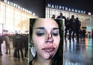 Když dorazí policie na místo pozdě… Jedna z žen, které útočníci rozbili obličej lahví. Poté ji okradli.
