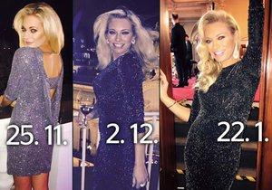 Lucie Borhyová vynesla třikrát po sobě stejné šaty.