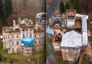 Pohled shora na zdevastované lázně Kyselka na Karlovarsku je ale víc než žalostný. Rekonstrukce už stála 200 milionů a potřeba jsou další.