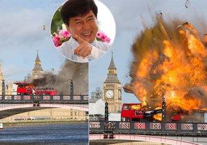 Poblíž Big Benu explodoval autobus! Naštěstí to byli jen filmaři... Jackie Chan natáčí nový film.