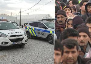 Čeští policisté hledají ekonomické migranty v Makedonii.