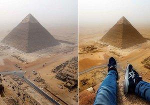 Německý turista zachytil na vrcholu pyramidy dechberoucí snímky.