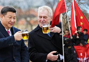 Prezident Miloš Zeman s čínskou hlavou státu Si Ťin-pchingem během návštěvy Prahy