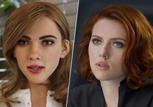 Robotická Scarlett Johansson a skutečná herečka.