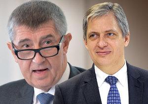 Vicepremiér Andrej Babiš (ANO) a ministr pro lidská práva Jiří Dienstbier (ČSSD)