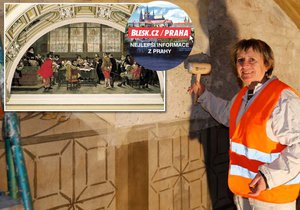 V Panteonu probíhají restaurátorské práce pod vedením akademické malířky Mileny Nečáskové.