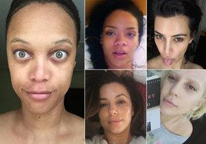 Celebrity zveřejnily fotografie bez líčidel.