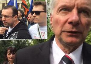 Příznivci Národní demokracie verbálně napadli štáb České televize. A Miroslav Sládek mluví o velké dohodě malých stran
