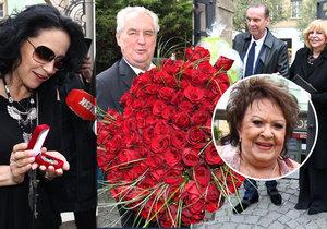 Jiřina Bohdalová dostala spoustu květin a drahých dárků.