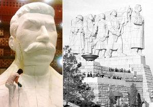 Replika Stalinovy hlavy a původní pomník na Letné