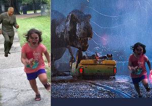 Dívka utíkající před pávem se stala hitem internetu.
