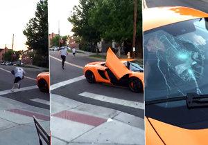Řidič McLarenu doplatil na to, že nezastavil na stopce. Skejťák, kterého málem přejel, mu rozbil přední okénko.
