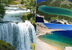 Skryté poklady Chorvatska: slané jezero Mir, Slunjčické vodopády a pláž Beritnica