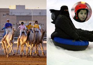 Kuriozita v Rijádu: Sněžný park ve městě, kde se v létě šplhají teploty k 45 stupňům.