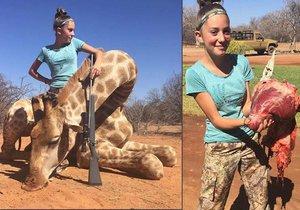Aryanna se chlubí trofejí. Mrtvá žirafa a její srdce.