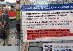 Slogan oznamuje poslancům, že ke Sněmovně jim jezdí z nádraží přímá linka.