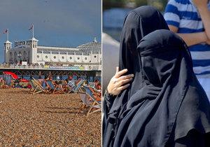 """Tohle není Francie: """"Armáda"""" žen v burkinách na britské pláži"""