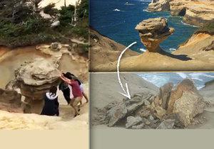Vandalové zničili vzácný skalní útvar v oregonském státním parku.