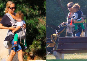 Lucie Vondráčková se synkem Adámkem na procházce v parku