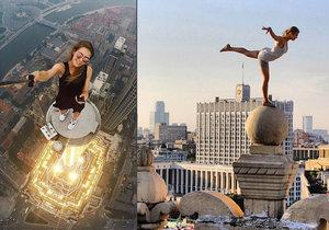 Ruská modelka Angela Nikolau leze po nejvyšších stavbách světa.