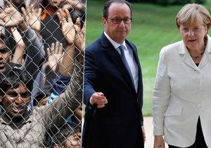 Angela Merkelová navštívila francouzského prezidenta Hollandea. Řeč přišla i na uprchlíky.
