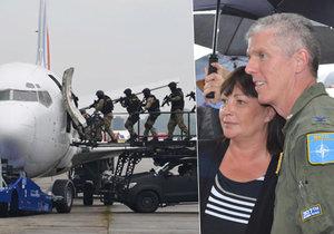 Dny NATO v Mošnově u Ostravy: Ivana Zemanová si prohlídla kokpit bitevníku, divákům předvedli i osvobození uneseného letadla