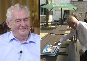 """Zeman tráví narozeniny pracovně, dort """"zapíchl"""" už v USA. Pak míří za Jakuninem"""