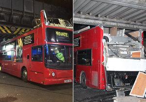 Skalpoval autobus: Řidič doubledeckeru vjel pod most a zranil 26 cestujících.