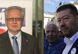 Šéf SPO Jan Veleba (vlevo) a předseda SPD Tomio Okamura