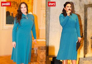 Jitka Čvančarová vytáhla dva dny po sobě stejné šaty.