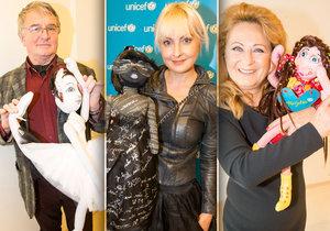Slavní představili své panenky Unicef.