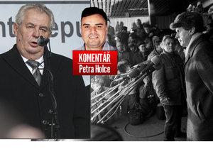 Prezident Miloš Zeman o listopadu 1989 na Letné a v roce 2015 na Albertově