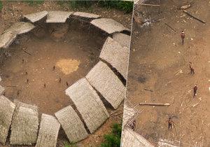 Letecký záběr odhalil v Amazonském pralese minivesničku.