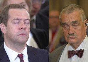 Ruský premiér Dmitrij Medveděv a exšéf české diplomacie Karel Schwarzenberg při spánku